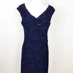 Lauren Ralph Lauren Navy Lace Dress Ruched sz. 10